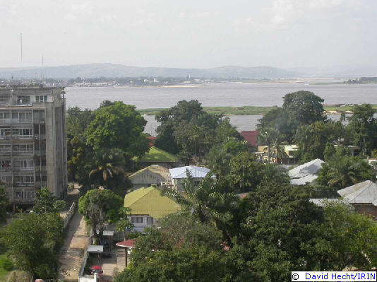Kinshasa and Brazzaville on opposite sides of the Congo river
