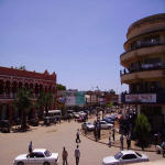 Lubumbashi: Belle Vie hotel on left