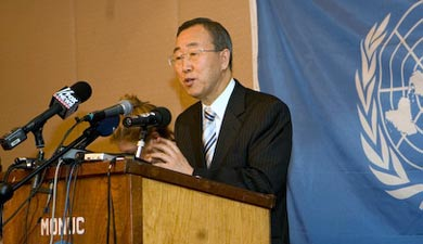 UN Secretary General Ban Ki-moon during a press conference in Congo-Kinshasa