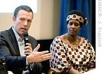Actor Ben Affleck and former Congolese refugee Rose Mapendo at the launch of the 'Gimme Shelter' campaign in New York
