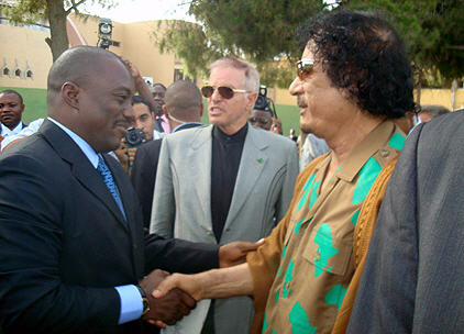 President Joseph Kabila meets Colonel Muammar Gaddafi on July 17, 2008 in Tripoli, Libya