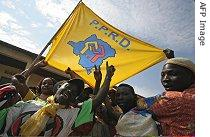 Supporters of President Joseph Kabila, who is a presidential candidate of the People's Party for Reconstruction and Development (PPRD)