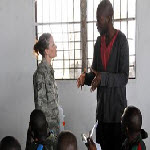 Air Force Staff Sgt. Amber Weaver conducts training to members of the Democratic Republic of the Congo?s armed forces (FARDC) quick response force