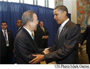 Barack Obama with Ban Ki-moon at the UN General Assembly