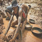 A gold miner scoops mud while digging an open pit at the Chudja mine in the Kilomoto concession near the village of Kobu, 100 km (62 miles) from Bunia in north-eastern Congo,