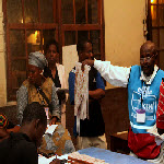 Observeurs watch as votes are being counted in Kinshasa on 11.29.2011