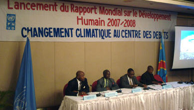 A climate change conference was held in Kinshasa's Grand Hotel on 21 December 2007. Organised by the UNDP who launched the