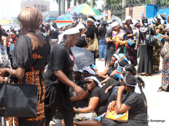 Women protested in front of UN offices in Kinshasa on Friday