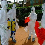 WHO health workers getting ready to treat Ebola patients this year in Kibali, Equateur Province