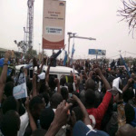 Senator Jean-Pierre Bemba meets supporters at the N'djili airport upon his return to Kinshasa