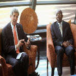 John Kerry (R) with Raymond Tshibanda in Kinshasa