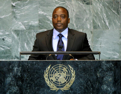 Kabila during his speech at the 66th UN General Assembly