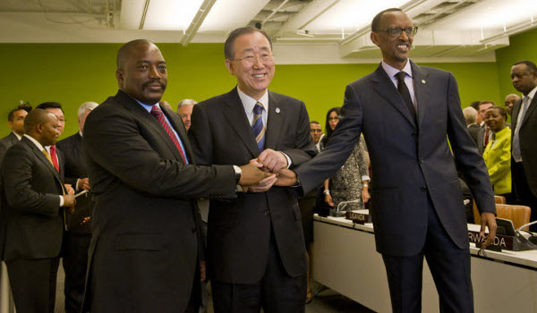 DR Congo's President Joseph Kabila, UN Secretary general Ban Ki-moon and Rwanda's President Paul Kagame met on the sidelines of the 67th Session of UN General Assembly in New York on 9.27.2012