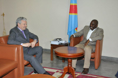 President Joseph Kabila with Belgian Foreign Minister Didier Reynders on March 27, 2012