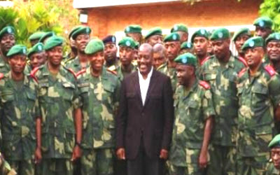 President Joseph Kabila with military officers in Goma, North Kivu Province, eastern Congo