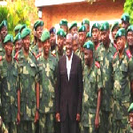 Joseph Kabila with Congolese Army officers in Goma, North Kivu Province
