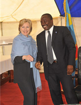 Joseph Kabila and Hillary Clinton in Goma