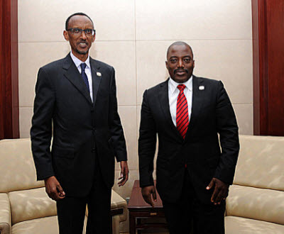 Presidents Paul Kagame and Joseph Kabila met in Addis-Ababa on July 15, 2012
