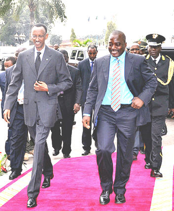 Joseph Kabila and Paul Kagame in Kinshasa