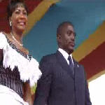 Joseph and Olive Kabila at the presidential inauguration on 12.6.2006