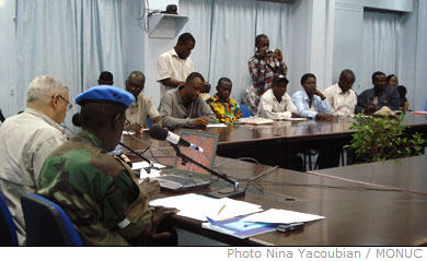 At its weekly press conference of 12 December 2007, MONUC announced that more than 4,500 blue helmets have been deployed in North Kivu province, to ensure the defence of the towns of Goma and Sake. Furthermore, blue helmets will maintain their presence in Mushake to protect displaced populations in Kilolirwe, Kitchanga and Kanyabayonga.