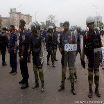 Police on the streets in Kinshasa as Etienne Tshisekedi was registering his candidacy