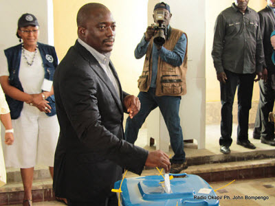President Joseph Kabila votes on Monday, November 28, 2011