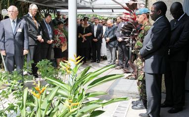 MONUSCO senior management and staff observe a minute of silence in Kinshasa