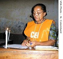 Election officials vote count in Congo with the light of candles