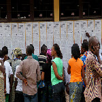 Voters at a polling station in Kinshasa on Monday, November 28, 2011