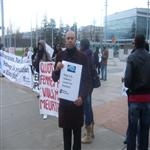 Manifestation, place des Nations � Gen�ve, organis�e par CORPUS et Amnesty international p ...